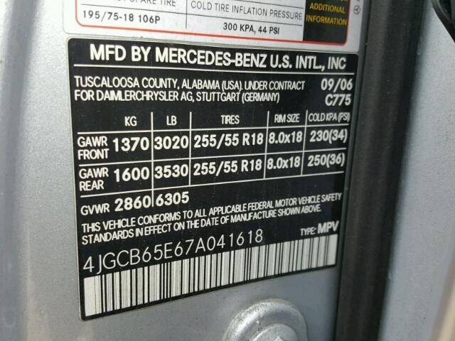 4JGCB65E67A041618 - 2007 MERCEDES-BENZ R 350 SILVER photo 10