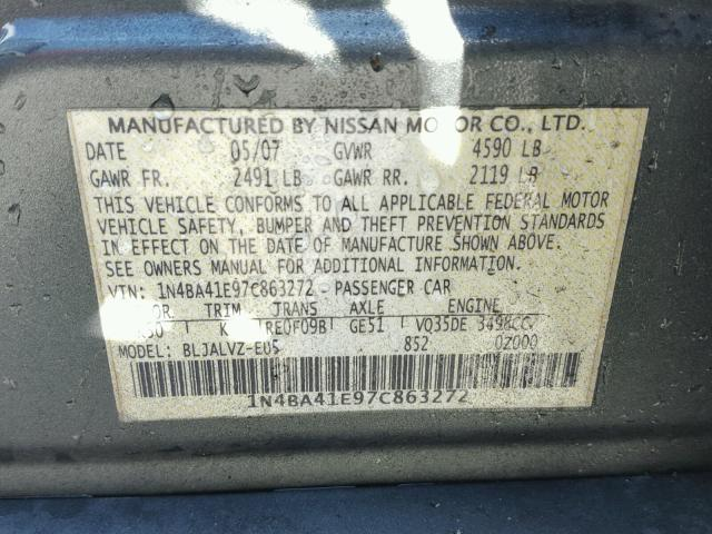 1N4BA41E97C863272 - 2007 NISSAN MAXIMA SE GRAY photo 10