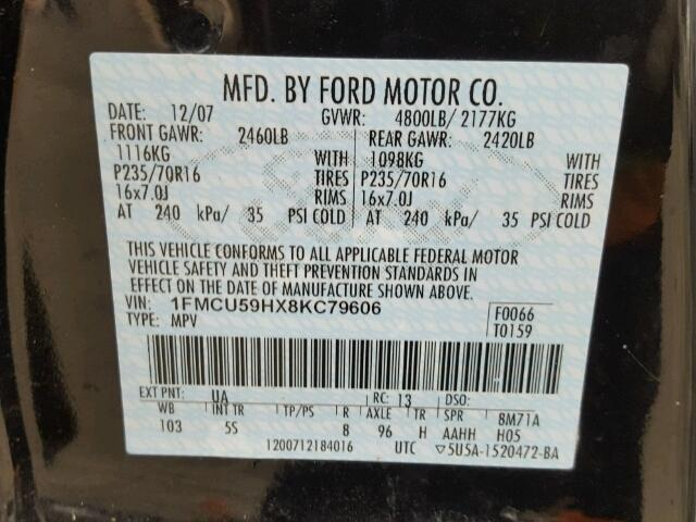 1FMCU59HX8KC79606 - 2008 FORD ESCAPE HEV BLACK photo 10