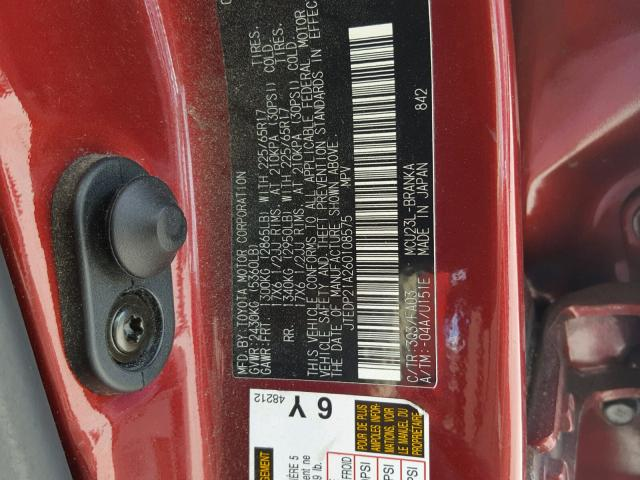 JTEDP21A260108575 - 2006 TOYOTA HIGHLANDER RED photo 10