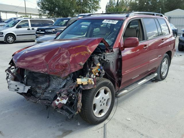 JTEDP21A260108575 - 2006 TOYOTA HIGHLANDER RED photo 2