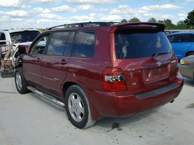 JTEDP21A260108575 - 2006 TOYOTA HIGHLANDER RED photo 3