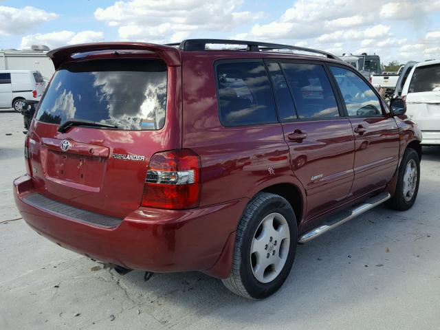 JTEDP21A260108575 - 2006 TOYOTA HIGHLANDER RED photo 4