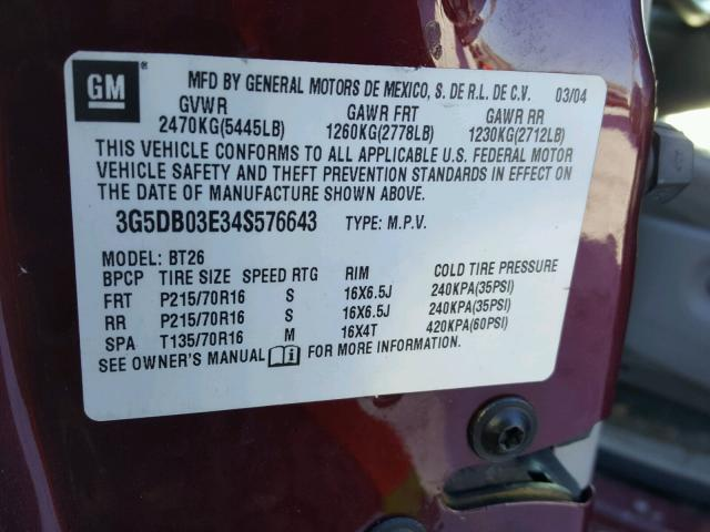 3G5DB03E34S576643 - 2004 BUICK RENDEZVOUS MAROON photo 10